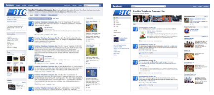 The old Facebook Page (left) and the new Page layout (right).