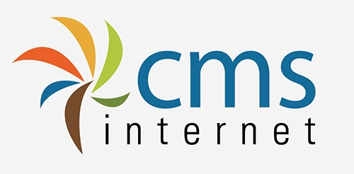cms internet logo gray background